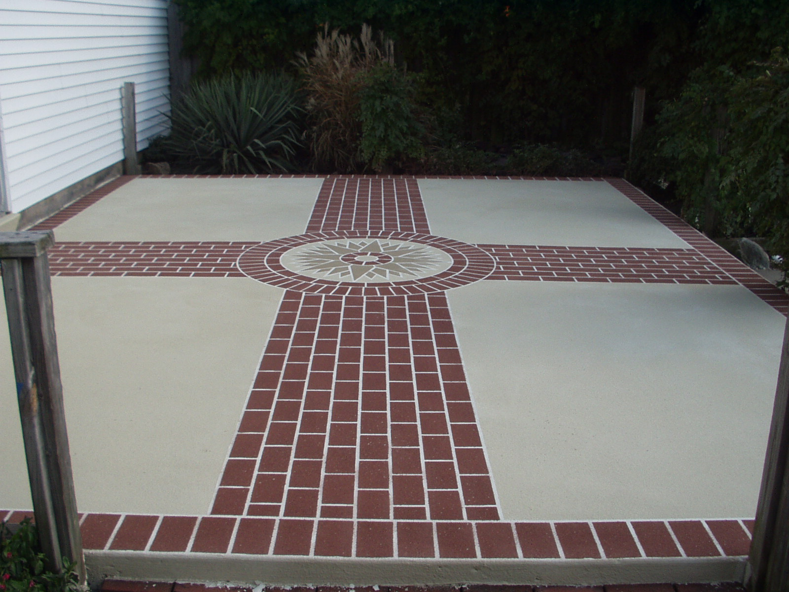 patio with compass pattern